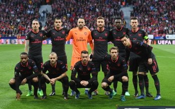 MADRID, SPAIN - MAY 03: The Arsenal team line up before the UEFA Europa League Semi Final second leg match between Atletico Madrid  and Arsenal FC at Estadio Wanda Metropolitano on May 3, 2018 in Madrid, Spain. (Photo by Stuart MacFarlane/Arsenal FC via Getty Images) *** Local Caption *** Arsenal team