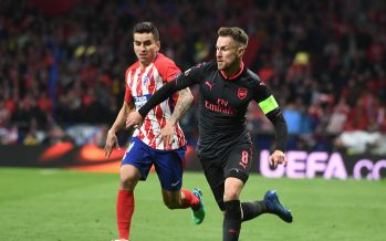 MADRID, SPAIN - MAY 03: Aaron Ramsey of Arsenal breaks past Angel Correa of Atletico during the UEFA Europa League Semi Final second leg match between Atletico Madrid  and Arsenal FC at Estadio Wanda Metropolitano on May 3, 2018 in Madrid, Spain. (Photo by Stuart MacFarlane/Arsenal FC via Getty Images) *** Local Caption *** Aaron Ramsey;Angel Correa