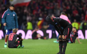 MADRID, SPAIN - MAY 03:  Dejected Arsenal forward Alex Lacazette after the UEFA Europa League Semi Final second leg match between Atletico Madrid  and Arsenal FC at Estadio Wanda Metropolitano on May 3, 2018 in Madrid, Spain.  (Photo by Stuart MacFarlane/Arsenal FC via Getty Images) *** Local Caption *** Alex Lacazette