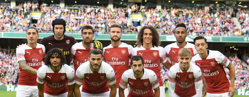 DUBLIN, IRELAND - AUGUST 01: The Arsenal team line up before the Pre-season friendly between Arsenal and Chelsea on August 1, 2018 in Dublin, Ireland. (Photo by Stuart MacFarlane/Arsenal FC via Getty Images) *** Local Caption *** Arsenal team