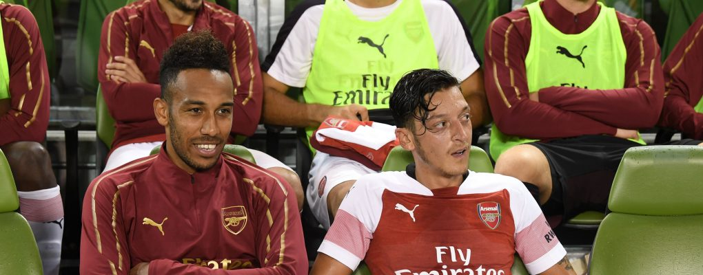 DUBLIN, IRELAND - AUGUST 01:  (L-R) Pierre-Emerick Aubameyang and Mesut Ozil of Arsenal during the Pre-season friendly between Arsenal and Chelsea on August 1, 2018 in Dublin, Ireland.  (Photo by Stuart MacFarlane/Arsenal FC via Getty Images) *** Local Caption *** Pierre-Emerick Aubameyang;Mesut Ozil;Oezil
