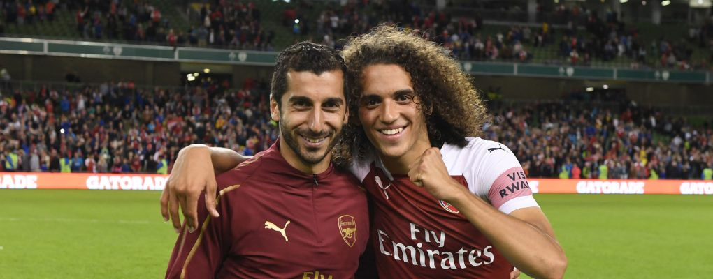 DUBLIN, IRELAND - AUGUST 01:  (L-R) Henrikh Mkhitaryan and Matteo Guendouzi of Arsenal after the Pre-season friendly between Arsenal and Chelsea on August 1, 2018 in Dublin, Ireland.  (Photo by Stuart MacFarlane/Arsenal FC via Getty Images) *** Local Caption *** Henrikh Mkhitaryan;Matteo Guendouzi