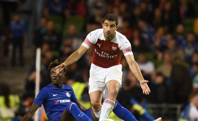 DUBLIN, IRELAND - AUGUST 01: Sokratis of Arsenal during the Pre-season friendly between Arsenal and Chelsea on August 1, 2018 in Dublin, Ireland. (Photo by Stuart MacFarlane/Arsenal FC via Getty Images) *** Local Caption *** Sokratis