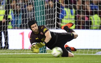 DUBLIN, IRELAND - AUGUST 01:  Arsenal goalkeeper Petr Cech saves a peanlty in the shoot out during the Pre-season friendly between Arsenal and Chelsea on August 1, 2018 in Dublin, Ireland.  (Photo by Stuart MacFarlane/Arsenal FC via Getty Images) *** Local Caption *** Petr Cech