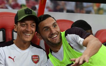 SINGAPORE - JULY 26:  Mesut Ozil and Lucas Perez of Arsenal before the International Champions Cup 2018 match between Club Atletico de Madrid and Arsenal at the National Stadium on July 26, 2018 in Singapore.  (Photo by David Price/Arsenal FC via Getty Images) *** Local Caption *** Mesut Ozil; Oezil; Lucas Perez