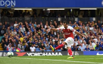 LONDON, ENGLAND - AUGUST 18:  Henrikh Mkhitaryan scores Arsenal's 1st goal during the Premier League match between Chelsea FC and Arsenal FC at Stamford Bridge on August 18, 2018 in London, United Kingdom.  (Photo by David Price/Arsenal FC via Getty Images) *** Local Caption *** Henrikh Mkhitaryan