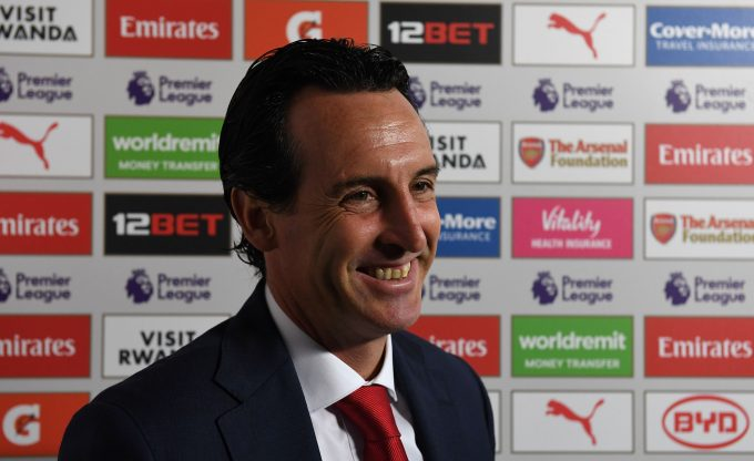 LONDON, ENGLAND - AUGUST 25:  Unai Emery the Head Coach of Arsenal is interviewed before the Premier League match between Arsenal FC and West Ham United at Emirates Stadium on August 25, 2018 in London, United Kingdom.  (Photo by David Price/Arsenal FC via Getty Images) *** Local Caption *** Unai Emery