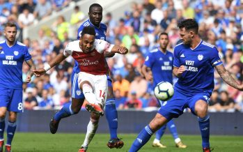 CARDIFF, WALES - SEPTEMBER 02:  Pierre-Emerick Aubameyang scores Arsenal's 2nd goal during the Premier League match between Cardiff City and Arsenal FC at Cardiff City Stadium on September 2, 2018 in Cardiff, United Kingdom.  (Photo by David Price/Arsenal FC via Getty Images) *** Local Caption *** Pierre-Emerick Aubameyang