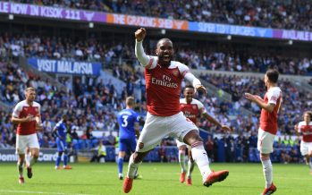 CARDIFF, WALES - SEPTEMBER 02:  Alex Lacazette celebrates the 2nd Arsenal, scored by Pierre-Emerick Aubameyang during the Premier League match between Cardiff City and Arsenal  at Cardiff City Stadium on September 2, 2018 in Cardiff, United Kingdom.  (Photo by Stuart MacFarlane/Arsenal FC via Getty Images) *** Local Caption *** Alex Lacazette;Pierre-Emerick Aubameyang