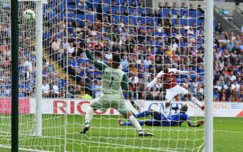 CARDIFF, WALES - SEPTEMBER 02: Alex Lacazette shoots past Cardiff goalkeeper Neil Etheridge to score the 3rd Arsenal goal during the Premier League match between Cardiff City and Arsenal  at Cardiff City Stadium on September 2, 2018 in Cardiff, United Kingdom. (Photo by Stuart MacFarlane/Arsenal FC via Getty Images) *** Local Caption *** Alex Lacazette;Neil Etheridge
