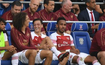 CARDIFF, WALES - SEPTEMBER 02: (L-R) Matteo Guendouzi, Mesut Ozil and Pierrie-Emerick Aubameyang during the Premier League match between Cardiff City and Arsenal  at Cardiff City Stadium on September 2, 2018 in Cardiff, United Kingdom. (Photo by Stuart MacFarlane/Arsenal FC via Getty Images) *** Local Caption *** Matteo Guendouzi;Mesut Ozil;Oezil;Pierre-Emerick Aubameyang