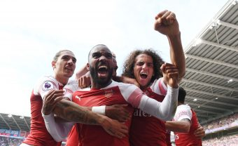 CARDIFF, WALES - SEPTEMBER 02:  (L-R) Hector Bellerin, Alex Lacazette and Matteo Guendouzi celebrate the 2nd Arsenal goal during the Premier League match between Cardiff City and Arsenal  at Cardiff City Stadium on September 2, 2018 in Cardiff, United Kingdom.  (Photo by Stuart MacFarlane/Arsenal FC via Getty Images) *** Local Caption *** Hector Bellerin;Alex Lacazette;Matteo Guendouzi