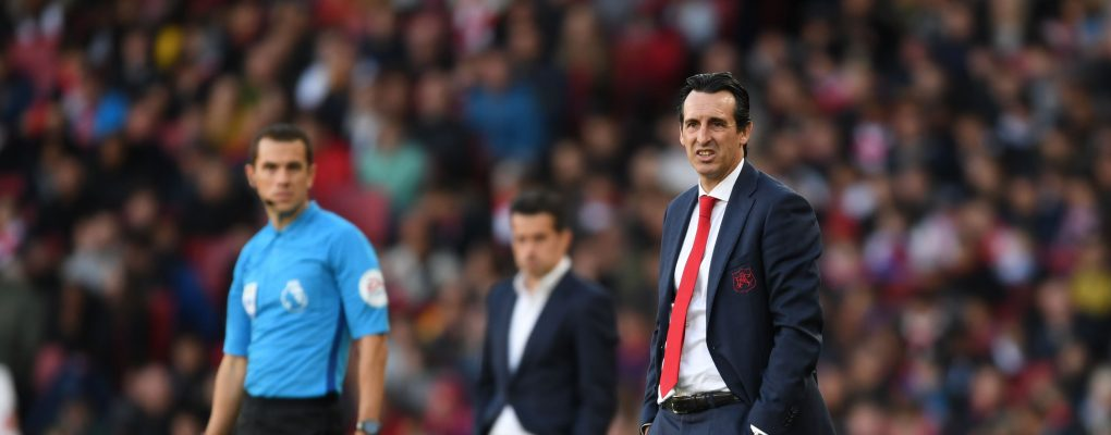 LONDON, ENGLAND - SEPTEMBER 23:  Arsenal Head Coach Unai Emery during the Premier League match between Arsenal FC and Everton FC at Emirates Stadium on September 23, 2018 in London, United Kingdom.  (Photo by Stuart MacFarlane/Arsenal FC via Getty Images) *** Local Caption *** Unai Emery