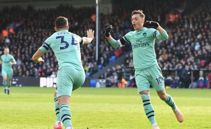 LONDON, ENGLAND - OCTOBER 28:  Granit Xhaka celebrates scoring Arsenal's 1st goal with Mesut Ozil during the Premier League match between Crystal Palace and Arsenal FC at Selhurst Park on October 28, 2018 in London, United Kingdom.  (Photo by David Price/Arsenal FC via Getty Images) *** Local Caption *** Granit Xhaka; Mesut Ozil; Oezil
