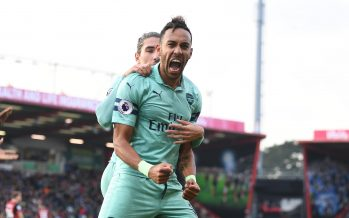 BOURNEMOUTH, ENGLAND - NOVEMBER 25:  Pierre-Emerick Aubameyang celebrates scoring the 2nd Arsenal goal during the Premier League match between AFC Bournemouth and Arsenal FC at Vitality Stadium on November 25, 2018 in Bournemouth, United Kingdom.  (Photo by Stuart MacFarlane/Arsenal FC via Getty Images)