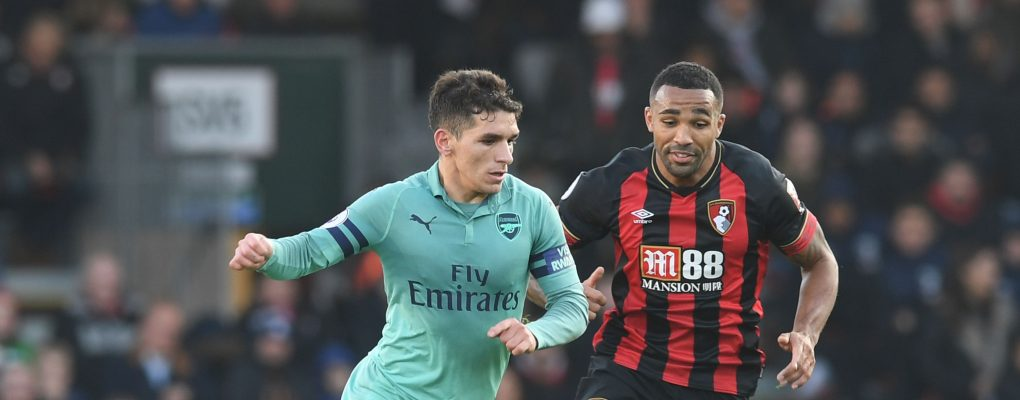 BOURNEMOUTH, ENGLAND - NOVEMBER 25:  Lucas Torreira of Arsenal takes on Callum Wilson of Bournemouth during the Premier League match between AFC Bournemouth and Arsenal FC at Vitality Stadium on November 25, 2018 in Bournemouth, United Kingdom.  (Photo by Stuart MacFarlane/Arsenal FC via Getty Images) *** Local Caption *** Lucas Torreira;Callum Wilson