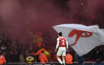 LONDON, ENGLAND - DECEMBER 02:  Hector Bellerin celebrates Arsenal's 3rd goal during the Premier League match between Arsenal FC and Tottenham Hotspur at Emirates Stadium on December 2, 2018 in London, United Kingdom.  (Photo by David Price/Arsenal FC via Getty Images) *** Local Caption *** Hector Bellerin