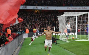 LONDON, ENGLAND - DECEMBER 02: Lucas Torreira celebrates scoring the 4th Arsenal goal during the Premier League match between Arsenal FC and Tottenham Hotspur at Emirates Stadium on December 1, 2018 in London, United Kingdom. (Photo by Stuart MacFarlane/Arsenal FC via Getty Images) *** Local Caption *** Lucas Torreira