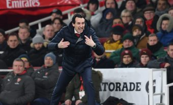LONDON, ENGLAND - JANUARY 19:  Unai Emery the Arsenal Head Coach during the Premier League match between Arsenal FC and Chelsea FC at Emirates Stadium on January 19, 2019 in London, United Kingdom.  (Photo by David Price/Arsenal FC via Getty Images) *** Local Caption *** Unai Emery
