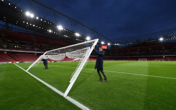 LONDON, ENGLAND - JANUARY 29:  The Arsenal groundsmen prepare the goals before the Premier League match between Arsenal FC and Cardiff City at Emirates Stadium on January 29, 2019 in London, United Kingdom.  (Photo by David Price/Arsenal FC via Getty Images) *** Local Caption *** Arsenal groundsmen
