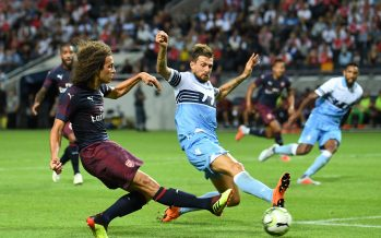 STOCKHOLM, SWEDEN - AUGUST 04:  Matteo Guendouzi of Arsenal shots under pressure from Francesco Acerbi of Lazio during the Pre-season friendly between Arsenal and SS Lazzio on August 4, 2018 in Stockholm, Sweden.  (Photo by David Price/Arsenal FC via Getty Images) *** Local Caption *** Matteo Guendouzi; Francesco Acerbi