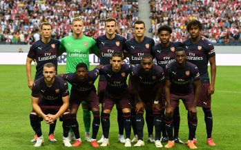 STOCKHOLM, SWEDEN - AUGUST 04: The Arsenal team line up before the Pre-season friendly between Arsenal and SS Lazio on August 4, 2018 in Stockholm, Sweden. (Photo by Stuart MacFarlane/Arsenal FC via Getty Images) *** Local Caption *** Arsenal team