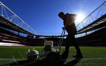 LONDON, ENGLAND - SEPTEMBER 26:  The Arsenal groundsman marks out the pitch before the Carabao Cup Third Round match between Arsenal and Brentford at Emirates Stadium on September 26, 2018 in London, England.  (Photo by David Price/Arsenal FC via Getty Images) *** Local Caption *** Arsenal Groundsman; Pitch marking