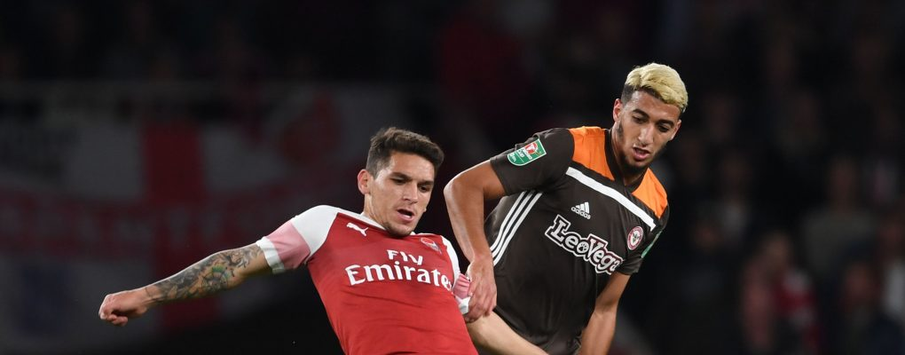 LONDON, ENGLAND - SEPTEMBER 26:  Lucas Torreira of Arsenal breaks past Said Benrahma of Brentford during the Carabao Cup Third Round match between Arsenal and Brentford at Emirates Stadium on September 26, 2018 in London, England.  (Photo by Stuart MacFarlane/Arsenal FC via Getty Images) *** Local Caption *** Lucas Torreira;Said Benrahma