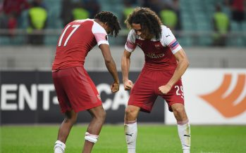 BAKU, AZERBAIJAN - OCTOBER 04: (L) Alex Iwobi and Matteo Guendouzi celebrte Arsenal's win after the UEFA Europa League Group E match between Qarabag FK and Arsenal at  on April 10, 2018 in Baku, Azerbaijan. (Photo by Stuart MacFarlane/Arsenal FC via Getty Images) *** Local Caption *** Alex Iwobi;Matteo Guendouzi