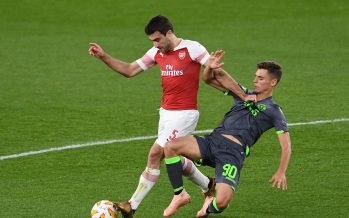 LONDON, ENGLAND - NOVEMBER 08:  Sokratis of Arsenal is challenged by Miguel Luis of Sporting moves in during the UEFA Europa League Group E match between Arsenal and Sporting CP at Emirates Stadium on November 8, 2018 in London, United Kingdom.  (Photo by David Price/Arsenal FC via Getty Images) *** Local Caption *** Miguel Luis;Sokratis