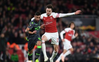 LONDON, ENGLAND - NOVEMBER 08:  Carl Jenkinson of Arsenal challenges Bruno Fernandes of Sporting moves in during the UEFA Europa League Group E match between Arsenal and Sporting CP at Emirates Stadium on November 8, 2018 in London, United Kingdom.  (Photo by David Price/Arsenal FC via Getty Images) *** Local Caption *** Carl Jenkinson;Bruno Fernandes