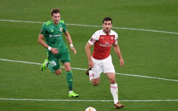 LONDON, ENGLAND - SEPTEMBER 20:  Sokratis of Arsenal takes on Yuriy Kolomoets of Vorskla during the UEFA Europa League Group E match between Arsenal and Vorskla Poltava at Emirates Stadium on September 20, 2018 in London, United Kingdom.  (Photo by David Price/Arsenal FC via Getty Images) *** Local Caption *** Yuriy Kolomoets; Sokratis