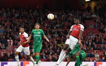 LONDON, ENGLAND - SEPTEMBER 20: Danny Welbeck scores the 2nd Arsenal goal during the UEFA Europa League Group E match between Arsenal and Vorskla Poltava at Emirates Stadium on September 20, 2018 in London, United Kingdom. (Photo by Stuart MacFarlane/Arsenal FC via Getty Images) *** Local Caption *** Danny Welbeck