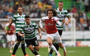 LISBON, PORTUGAL - OCTOBER 25:  Matteo Guendouzi of Arsenal takes on Marcos Acuna of Sporting during the UEFA Europa League Group E match between Sporting CP and Arsenal at Estadio Jose Alvalade on October 25, 2018 in Lisbon, Portugal.  (Photo by David Price/Arsenal FC via Getty Images) *** Local Caption *** Marcos Acuna; Matteo Guendouzi