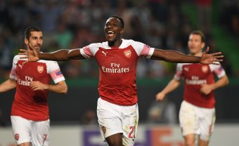 LISBON, PORTUGAL - OCTOBER 25:  Danny Welbeck celebrats scoring Arsenal's goal during the UEFA Europa League Group E match between Sporting CP and Arsenal at Estadio Jose Alvalade on October 25, 2018 in Lisbon, Portugal.  (Photo by David Price/Arsenal FC via Getty Images) *** Local Caption *** Danny Welbeck