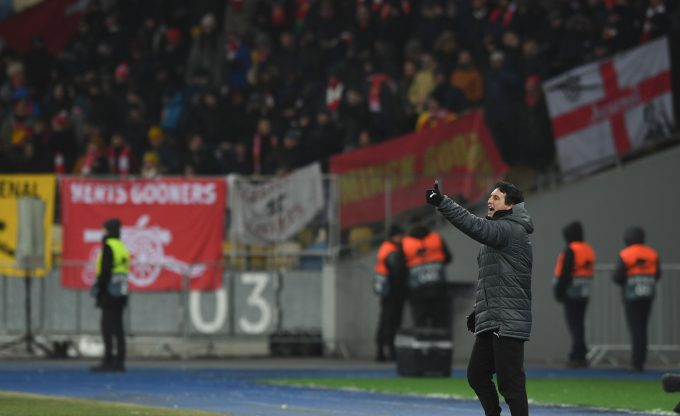 KIEV, UKRAINE - NOVEMBER 29: Arsenal Head Coach Unai Emery during the UEFA Europa League Group E match between Vorskla Poltava and Arsenal at Oleksiy Butovsky Vorskla Stadium on November 29, 2018 in Poltava, Ukraine.  (Photo by David Price/Arsenal FC via Getty Images) *** Local Caption *** Unai Emery