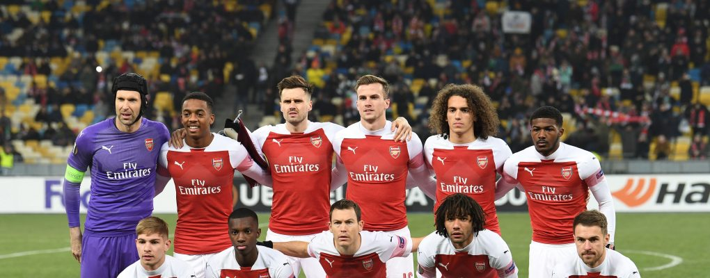 KIEV, UKRAINE - NOVEMBER 29:  Arsenal team before the UEFA Europa League Group E match between Vorskla Poltava and Arsenal at Oleksiy Butovsky Vorskla Stadium on November 29, 2018 in Poltava, Ukraine.  (Photo by David Price/Arsenal FC via Getty Images) *** Local Caption *** Arsenal team