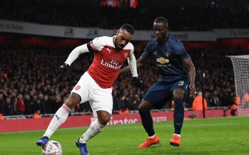 LONDON, ENGLAND - JANUARY 25:  Alexandre Lacazette of Arsenal is closed down by Eric Bailly of Man Utd during the FA Cup Fourth Round match between Arsenal and Manchester United at Emirates Stadium on January 25, 2019 in London, United Kingdom.  (Photo by David Price/Arsenal FC via Getty Images) *** Local Caption *** Eric Bailly; Alexandre Lacazette