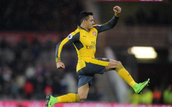 MIDDLESBROUGH, ENGLAND - APRIL 17:  Alexis Sanchez celebrates scoring a goal for Arsenal during the Premier League match between Middlesbrough and Arsenal at Riverside Stadium on April 17, 2017 in Middlesbrough, England.  (Photo by David Price/Arsenal FC via Getty Images) *** Local Caption *** Alexis Sanchez