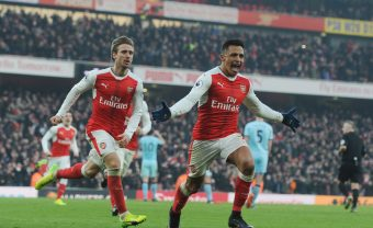 LONDON, ENGLAND - JANUARY 22:  (R) Alexis Sanchez celebrstes scoring the 2nd Arsenal goal with (L) Nacoh Monreal during the Premier League match between Arsenal and Burnley at Emirates Stadium on January 22, 2017 in London, England.  (Photo by Stuart MacFarlane/Arsenal FC via Getty Images) *** Local Caption *** Alexis Sanchez;Nacho Monreal