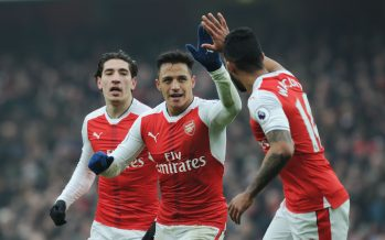 LONDON, ENGLAND - FEBRUARY 11: (2ndL) Alexis Sanchez celebrates scoring the 1st Arsenal goal with (R) Theo Walcott during the Premier League match between Arsenal and Hull City at Emirates Stadium on February 11, 2017 in London, England. (Photo by Stuart MacFarlane/Arsenal FC via Getty Images) *** Local Caption *** Alexis Sanchez;Theo Walcott