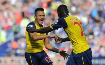 LEICESTER, ENGLAND - AUGUST 31:  Alexis Sanchez celebrates scoring a goal for Arsenal with Yaya Sanogo during the Barclays Premier League match between Leicester City and Arsenal at The King Power Stadium on August 31, 2014 in Leicester, England.  (Photo by David Price/Arsenal FC via Getty Images) *** Local Caption *** Alexis Sanchez; Yaya Sanogo