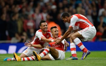 LONDON, ENGLAND - SEPTEMBER 23:  (2ndL) Alexis Sanchez celebrates scoring for Arsenal with (L) Francis Coquelin and (R) Issac Hayden during the Capital One Cup Third Round match between Arsenal and Southampton at Emirates Stadium on September 23, 2014 in London, England.  (Photo by Stuart MacFarlane/Arsenal FC via Getty Images) *** Local Caption *** Alexis Sanchez;Issac Hayden;Francis Coquelin