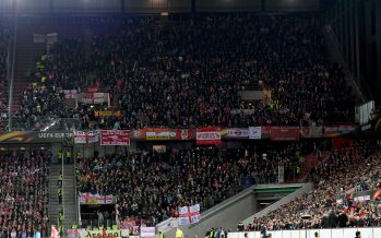 COLOGNE, GERMANY - NOVEMBER 23:  The Arsenal fans in the away section of the stadium during the UEFA Europa League group H match between 1. FC Koeln and Arsenal FC at RheinEnergieStadion on November 23, 2017 in Cologne, Germany.  (Photo by David Price/Arsenal FC via Getty Images) *** Local Caption *** Arsenal fans