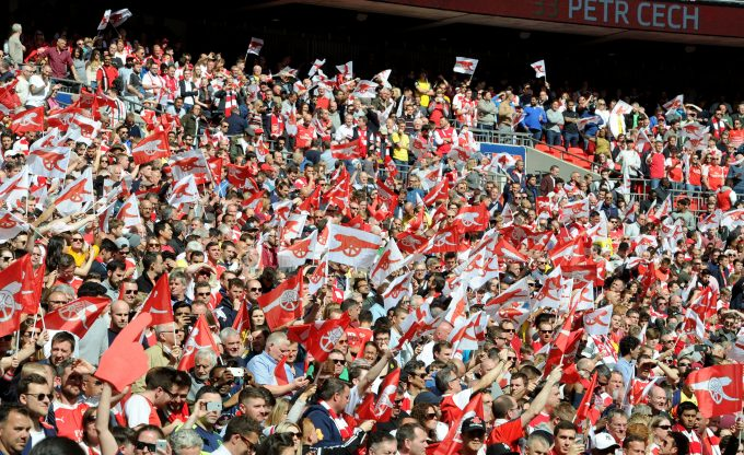 LONDON, ENGLAND - APRIL 23: Arsenal fans during the Emirates FA Cup Semi-Final match between Arsenal and Manchester City at Wembley Stadium on April 23, 2017 in London, England. (Photo by Stuart MacFarlane/Arsenal FC via Getty Images) *** Local Caption *** Arsenal fans