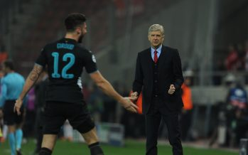 ATHENS, GREECE - DECEMBER 09: Arsenal manager Arsene Wenger celebrates the 3rd goal with (L) goalscorer Olivier Giroud during the UEFA Champions League group stage match between Olympiacos and Arsenal at the Karaiskakis Stadium on December 9, 2015 in Piraeus, Greece. (Photo by Stuart MacFarlane/Arsenal FC via Getty Images *** Local Caption *** Arsene Wenger;Olivier Giroud