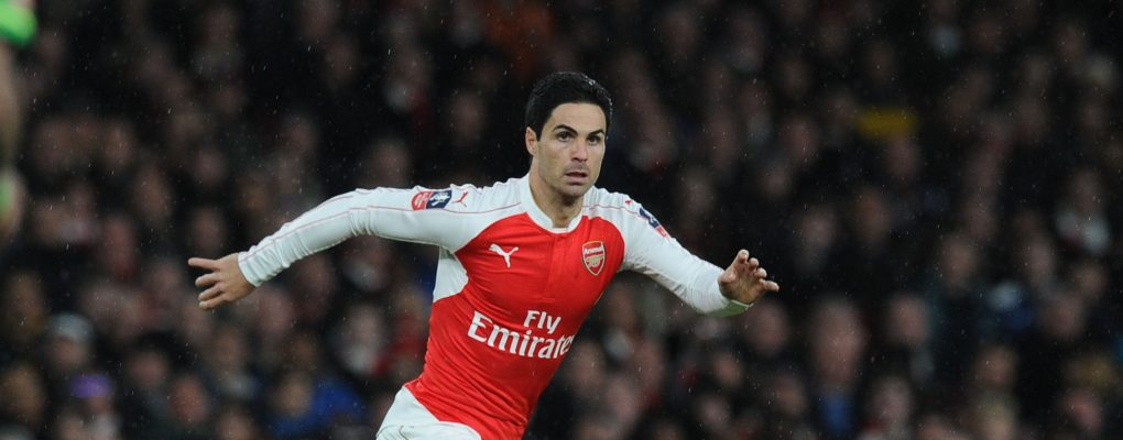 LONDON, ENGLAND - JANUARY 09:  Mikel Arteta of Arsenal during the Emirates FA Cup Third Round match between Arsenal and Sunderland at Emirates Stadium on January 9, 2016 in London, England.  (Photo by Stuart MacFarlane/Arsenal FC via Getty Images) *** Local Caption *** Mikel Arteta