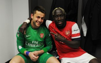 LONDON, ENGLAND - APRIL 12: Arsenal's (L) Lukasz Fabianski and (R) Bacary Sagna celebrate after the FA Cup Semi Final between Wigan Athletic and Arsenal at Wembley Stadium on April 12, 2014 in London, England.  (Photo by Stuart MacFarlane/Arsenal FC via Getty Images) *** Local Caption *** Lukasz Fabianski;Bacary Sagna