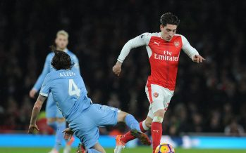 LONDON, ENGLAND - DECEMBER 10:  Hector Bellerin of Arsenal takes on Joe Allen of Stoke during the Premier League match between Arsenal and Stoke City at Emirates Stadium on December 10, 2016 in London, England.  (Photo by David Price/Arsenal FC via Getty Images) *** Local Caption *** Hector Bellerin; Joe Allen