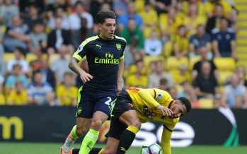 WATFORD, ENGLAND - AUGUST 27: Hector Bellerin of Arsenal takes on Etienne Capoue of Watford during the Premier League match between Watford and Arsenal at Vicarage Road on August 27, 2016 in Watford, England. (Photo by Stuart MacFarlane/Arsenal FC via Getty Images) *** Local Caption *** Hector Bellerin;Etienne Capoue
